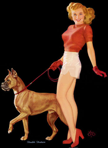 Girl in shorts with boxer. Date 1940s.