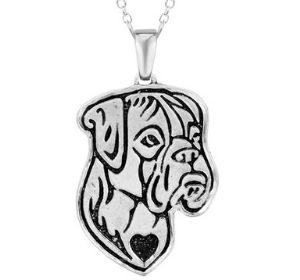 Boxer Breed Jewelry Natural Ears Heart Pendant