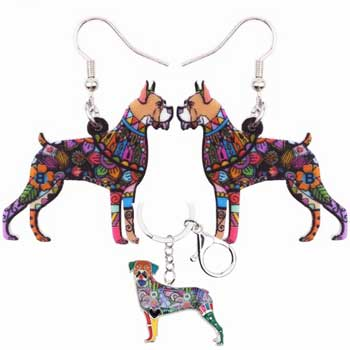 Boxer Dog Long Earrings