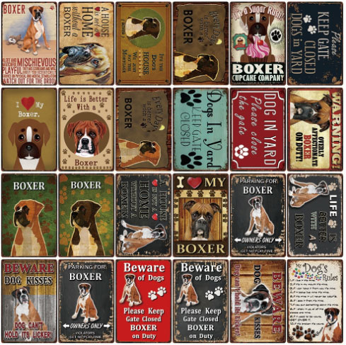Metal plaques with cute inscriptions about boxer dogs